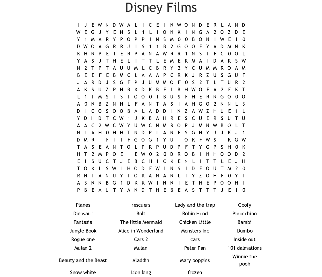 Disney Movies Word Search  Wordmint throughout Disney Movies Word Search