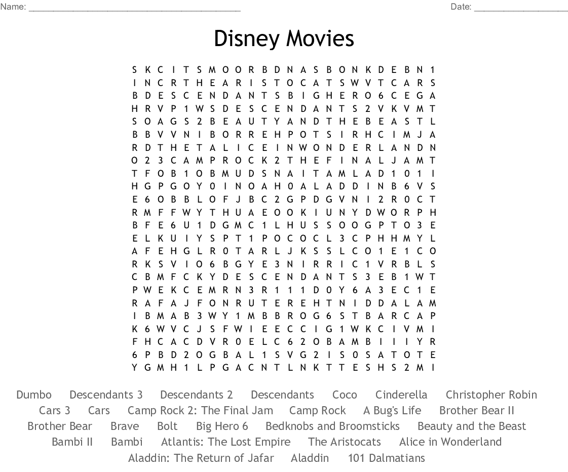 Disney Movies Word Search  Wordmint within Disney Movies Word Search