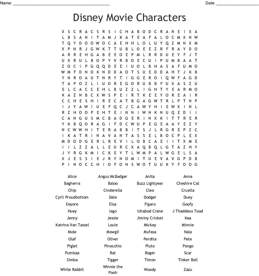 Disney Word Search Puzzles To Print | 101 Activity regarding Disney Movies Word Search