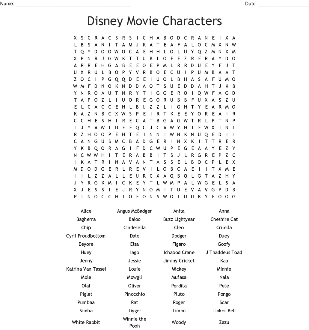 Disney Word Search Puzzles To Print   101 Activity with regard to Disney World Word Search