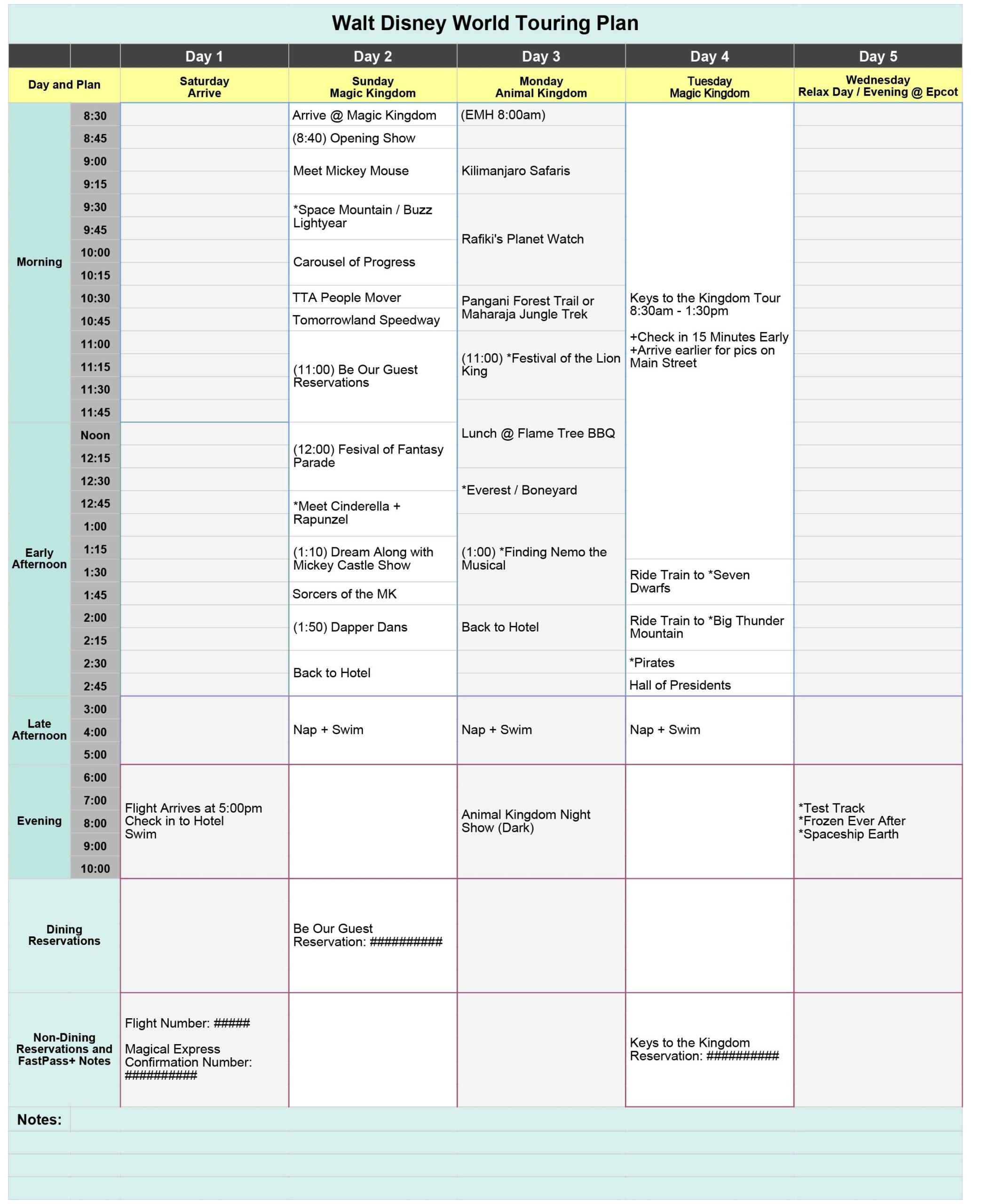 Disney World Blank Itinerary Template | Calendar Template with Disneyland Itinerary Template