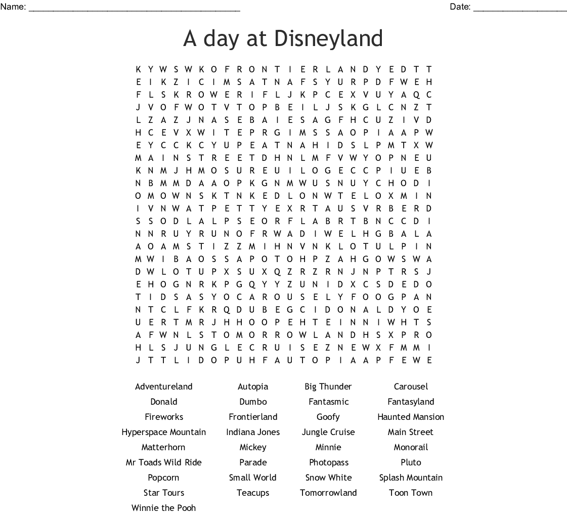 Disney World Word Search  Wordmint inside Disney World Word Search