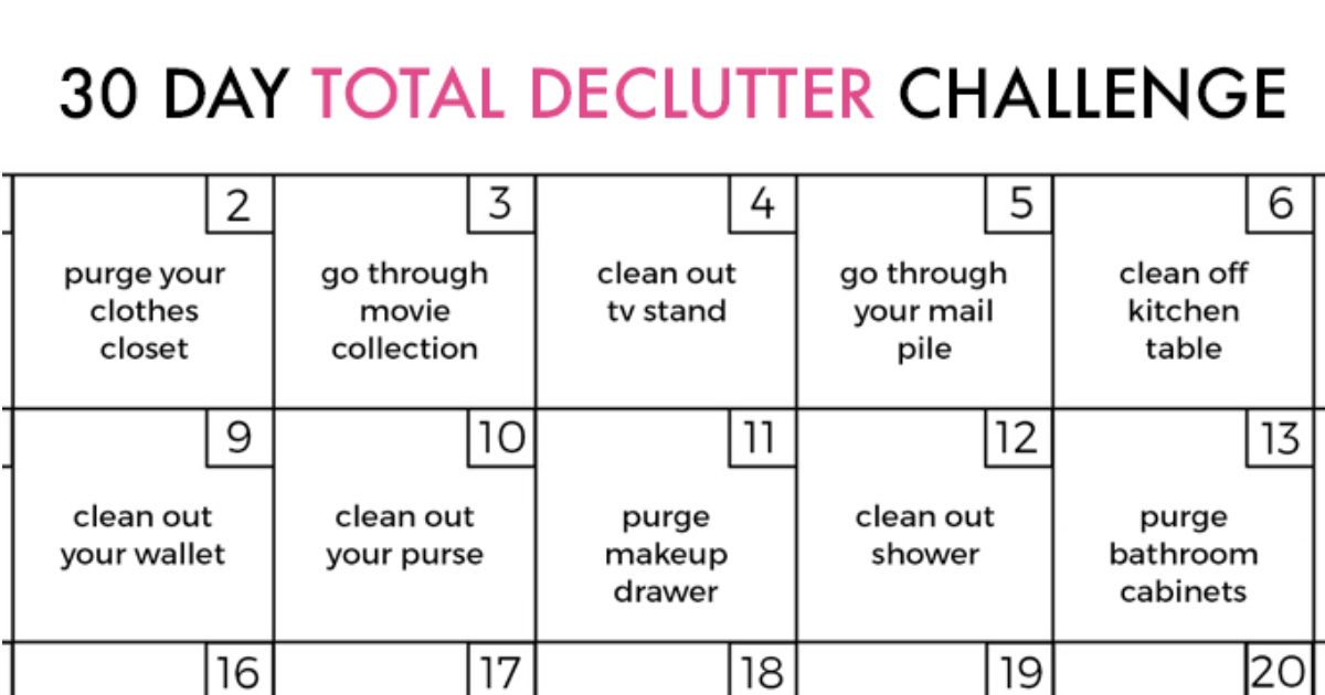 Diyideas Archives intended for 30 Day Declutter Challenge Calendar