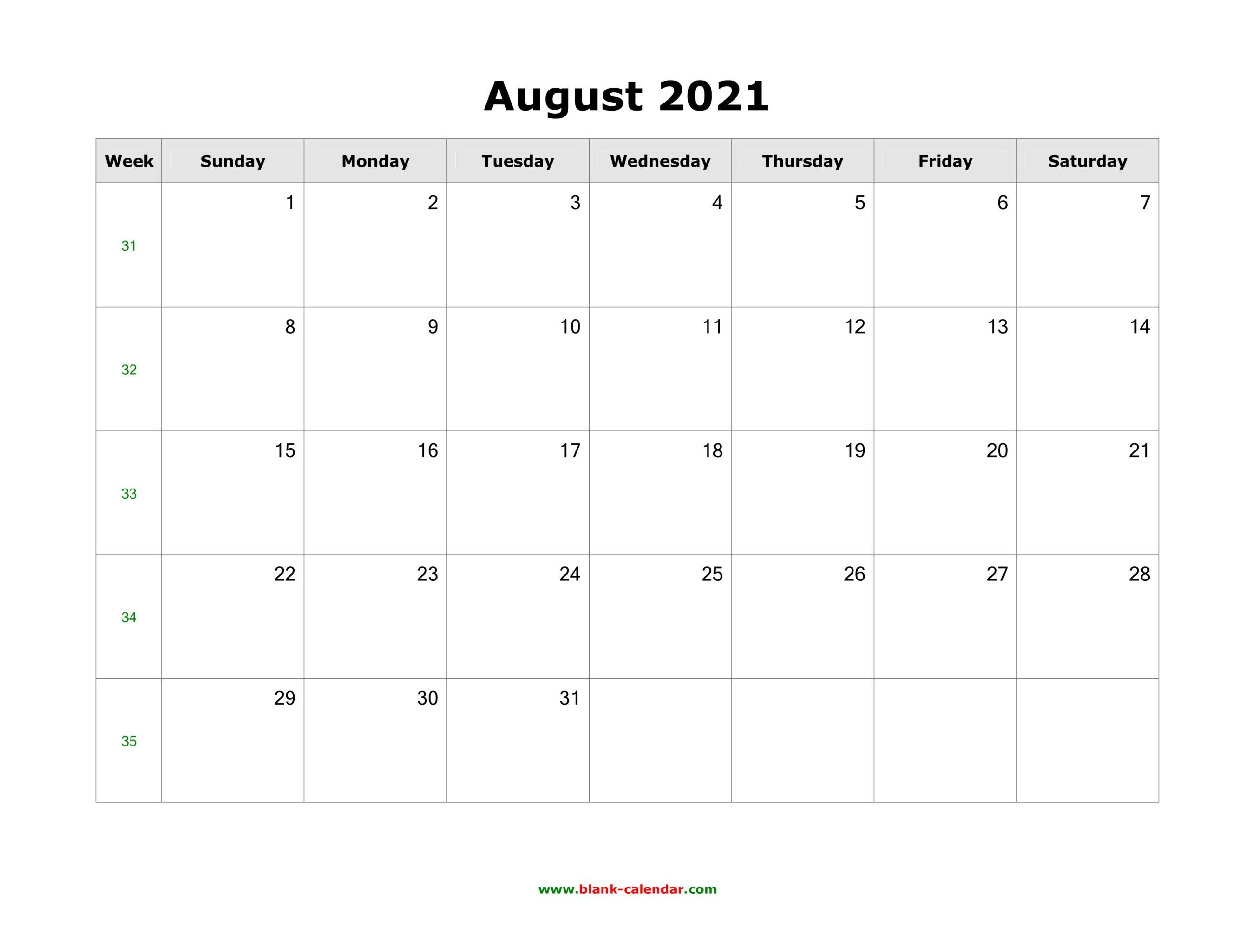 Download August 2021 Blank Calendar (Horizontal) within August 2021 Template Calendar