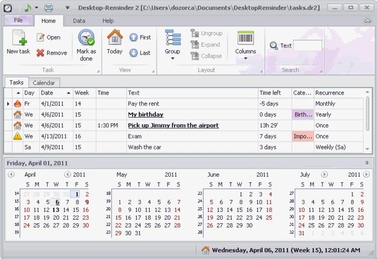 Download Desktop Reminder 2.132 intended for Desktop Reminder Calendar Apps Free