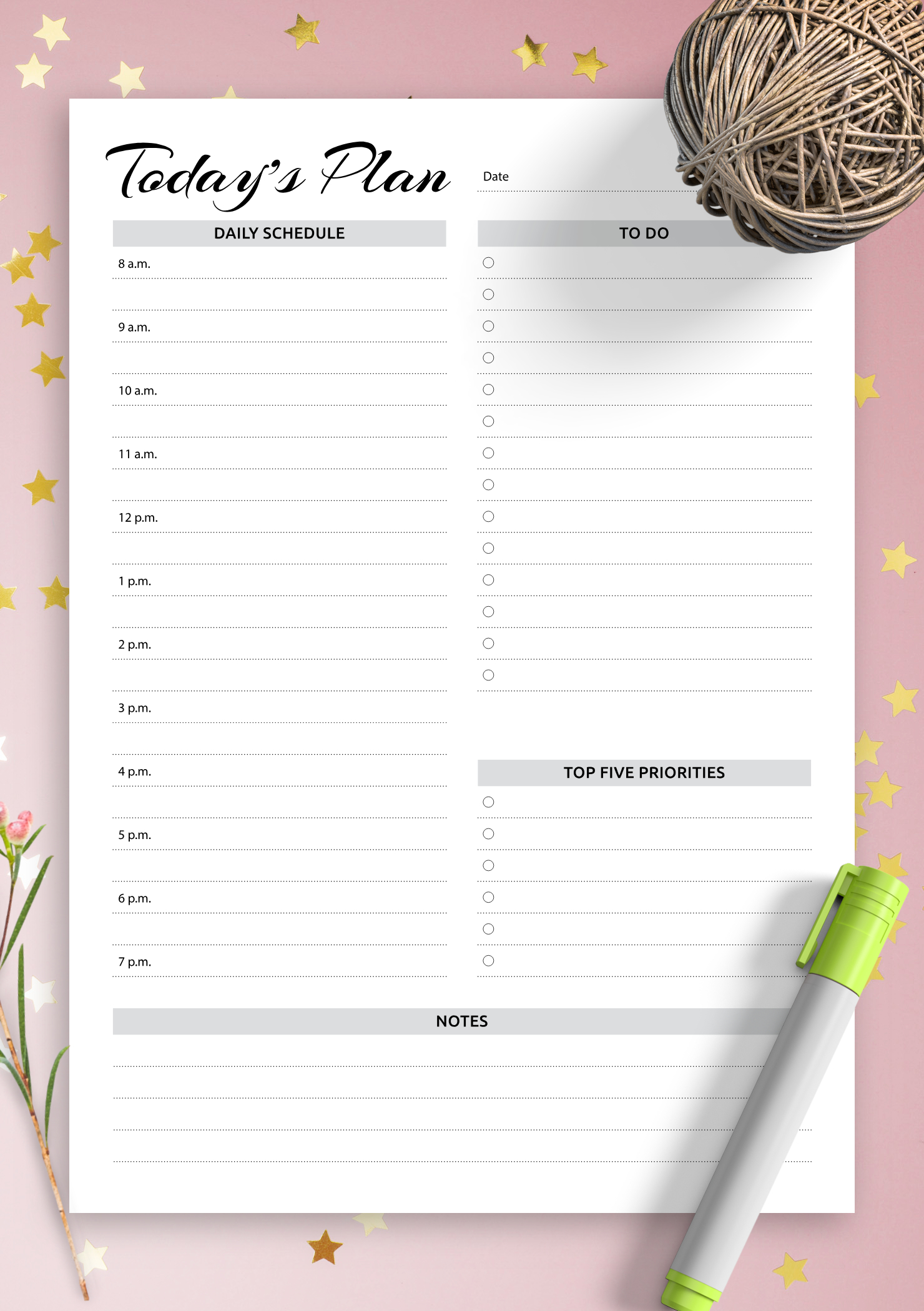 Download Printable Daily Planner With Hourly Schedule & To inside Am Pm Calendar Template