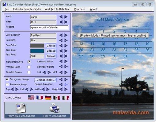 Easy Calendar Maker!  Download For Pc Free inside Win Calendar Creator