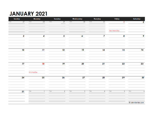 Editable 2021 Monthly Calendar Excel Template  Free intended for 2021 Excel Printable Calendars