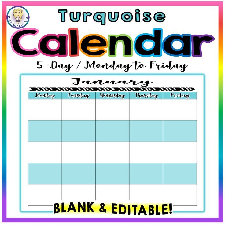 Editable! Blank Yearly Calendar  5Day  Monday To Friday in Blank 5 Day Calendar