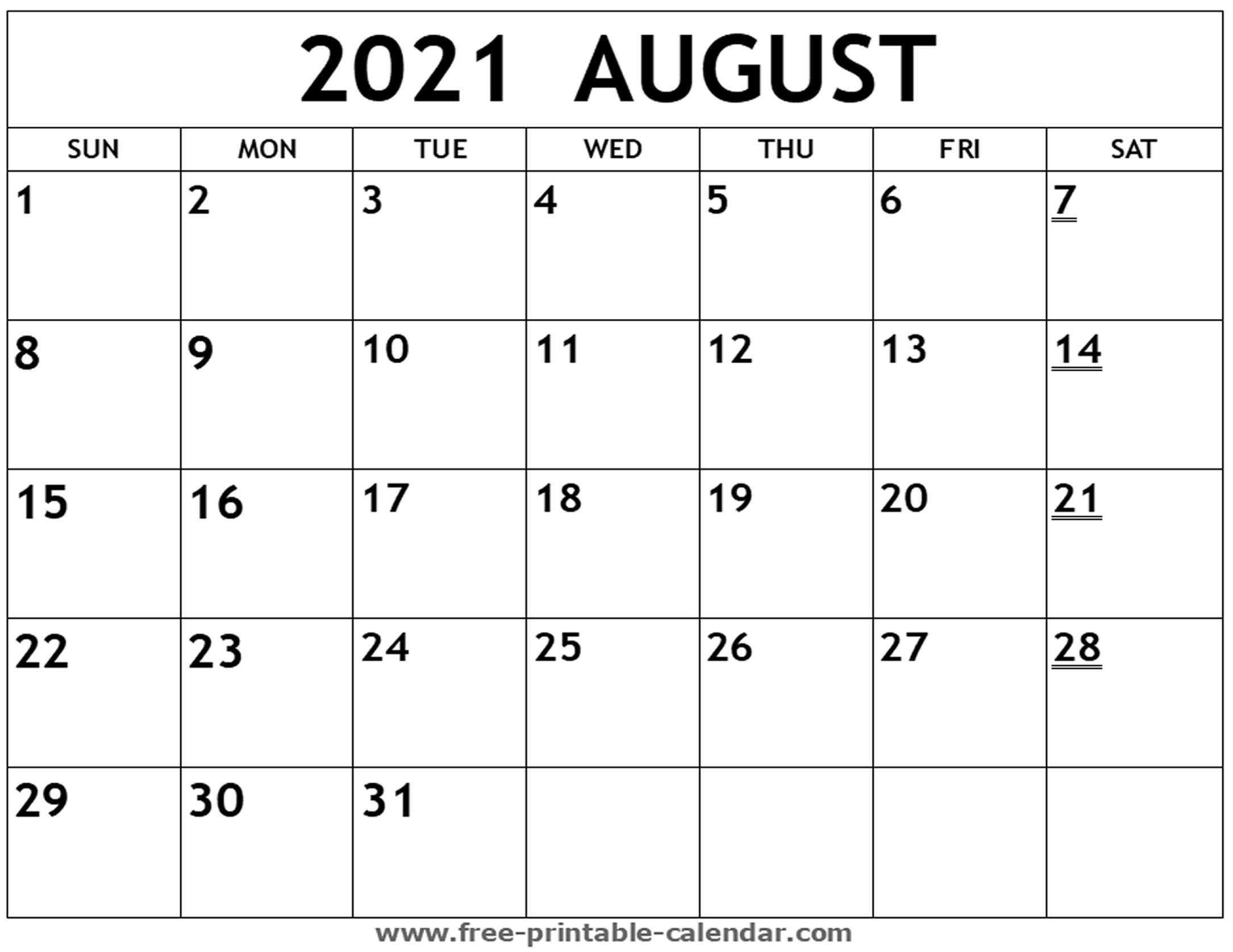 Editable Calendar For August 2021 | Month Calendar Printable with August 2021 Template Calendar