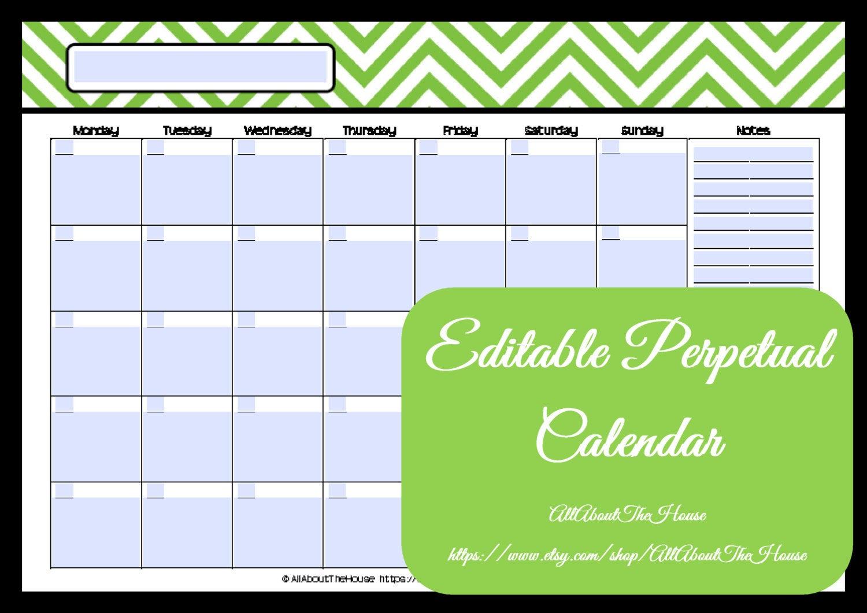 Editable Printable Calendar Perpetual Monthly 1 Page pertaining to Perpetual Monthly Calendar