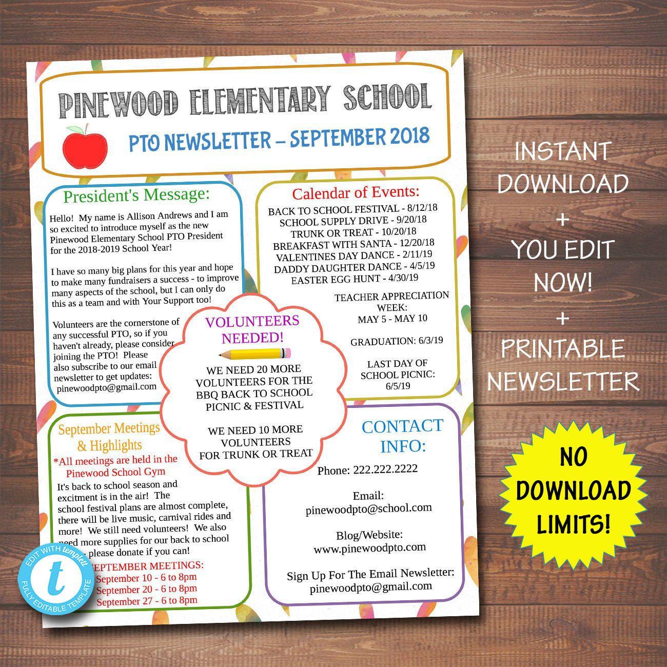 Editable Pto Pta Newsletter Flyer, Printable Handout with regard to Free Pto Calendar Templates