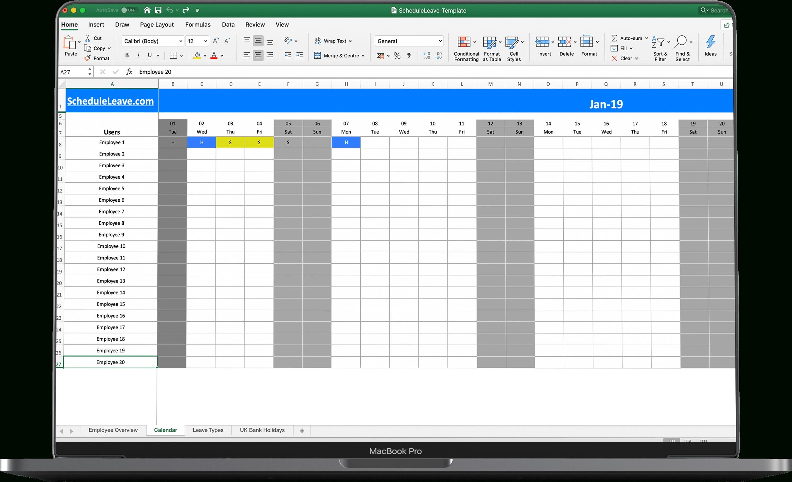 Employee Vacation Tracker Templates 2021   Calendar in 2021 Pto Calendar Template Excel