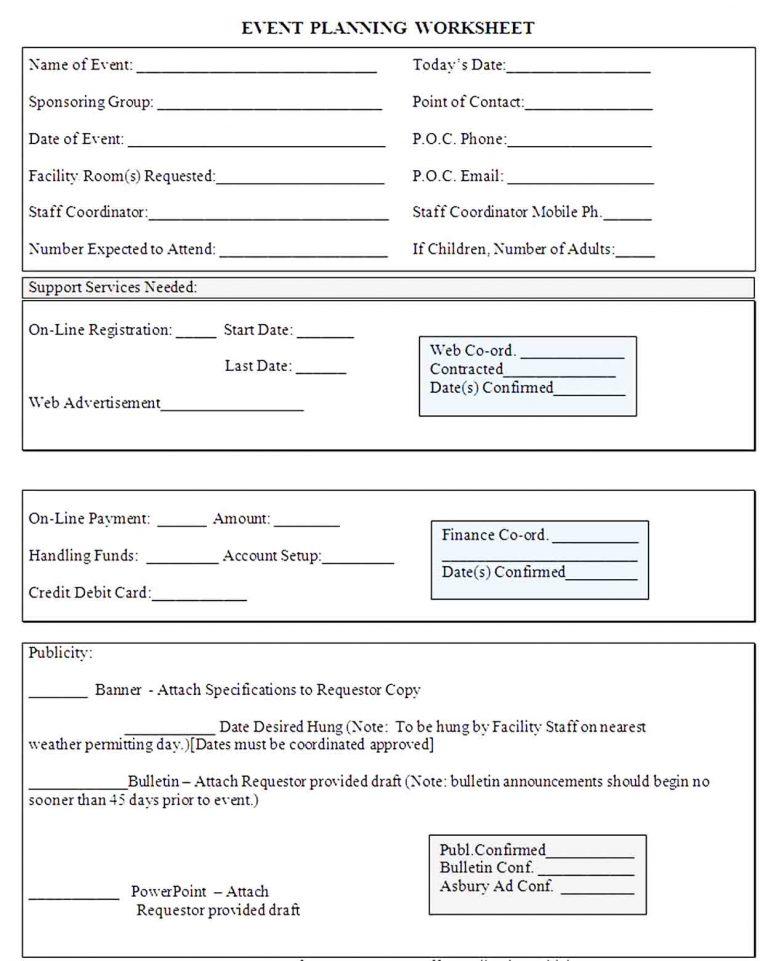 Event Planning Worksheet Template  Niche Design Inc pertaining to Event Planning Worksheet Template