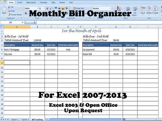 Excel Bill Tracker  Emmamcintyrephotography intended for Excel Monthly Tracker Template