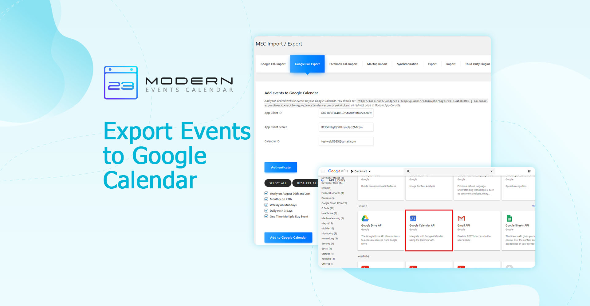 Export Events To Google Calendar  Modern Events Calendar intended for How To Export Google Calendar To Excel