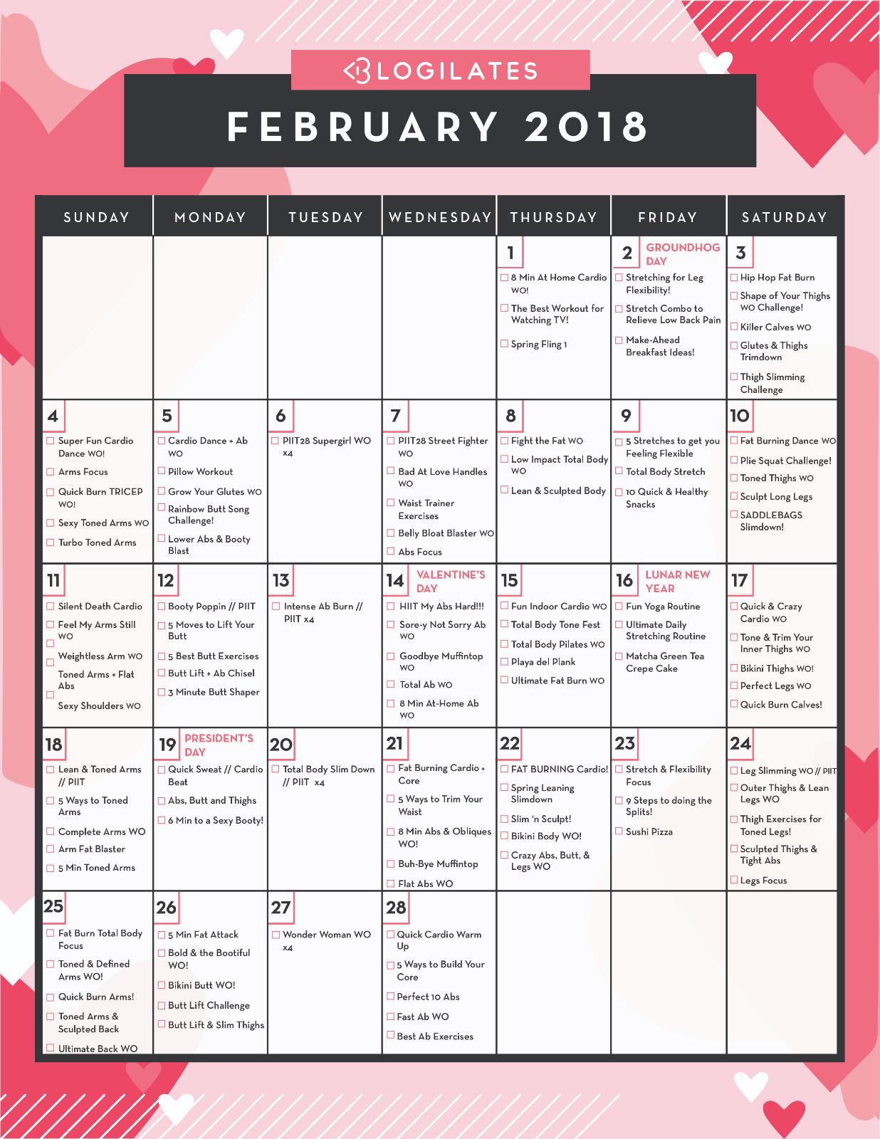 Febcal  Blogilates regarding Blogilates September Calendar