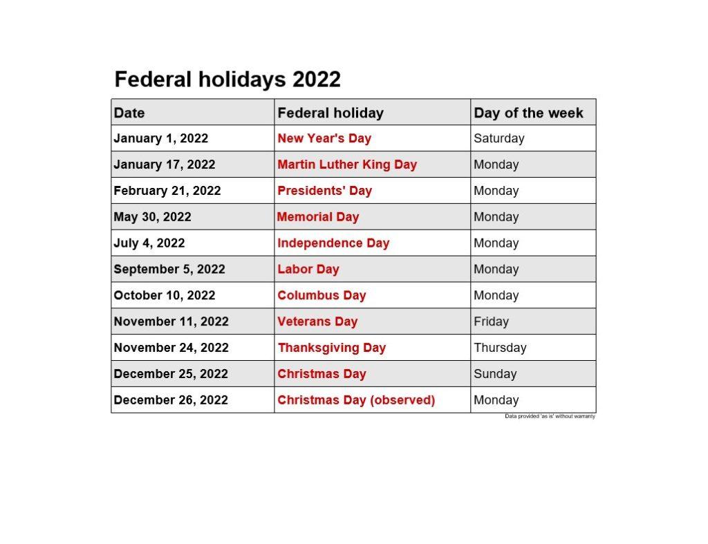 Federal Holidays   2021Printablecalendar throughout Federal Holidays 2025
