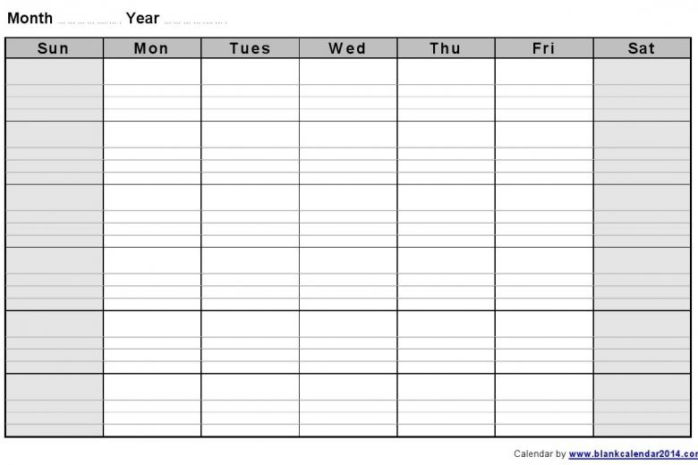 Fill In Printable Monthly Calendar :Free Calendar Template inside Fill In The Blank Calendar