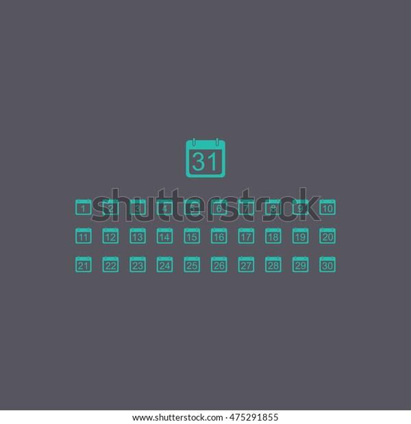 Flat Vector Calendar Icon Design Style Stock Vector throughout Calendar Icon Material Design