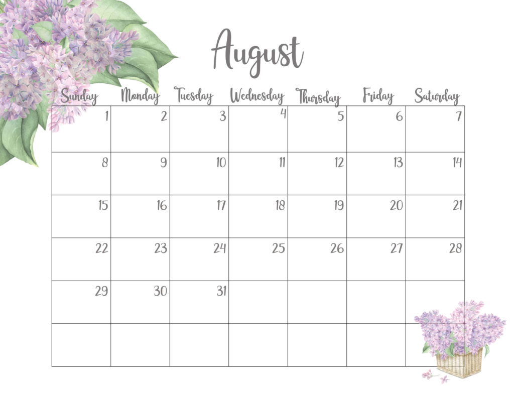 Floral August 2021 Calendar Printable  Time Management with August 2021 Template Calendar