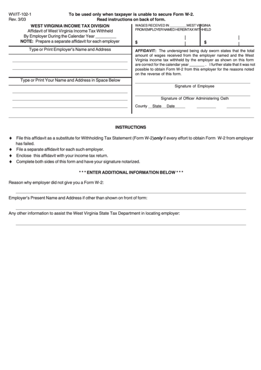 Form Wvit1021  Affidavit Of Income Tax Withheld By throughout During One Calendar Year A State Trooper