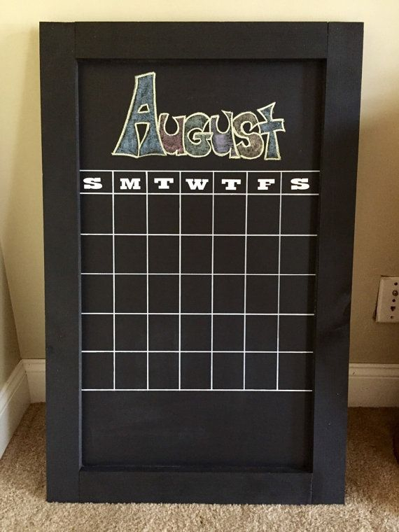 Framed Wall Chalkboard Calendar By Thesophiecollection On throughout Wall Calendar Frames