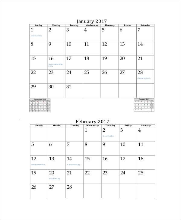 Free 13+ Printable Monthly Calendar Samples In Pdf | Ms in Multi Month Calendar Template