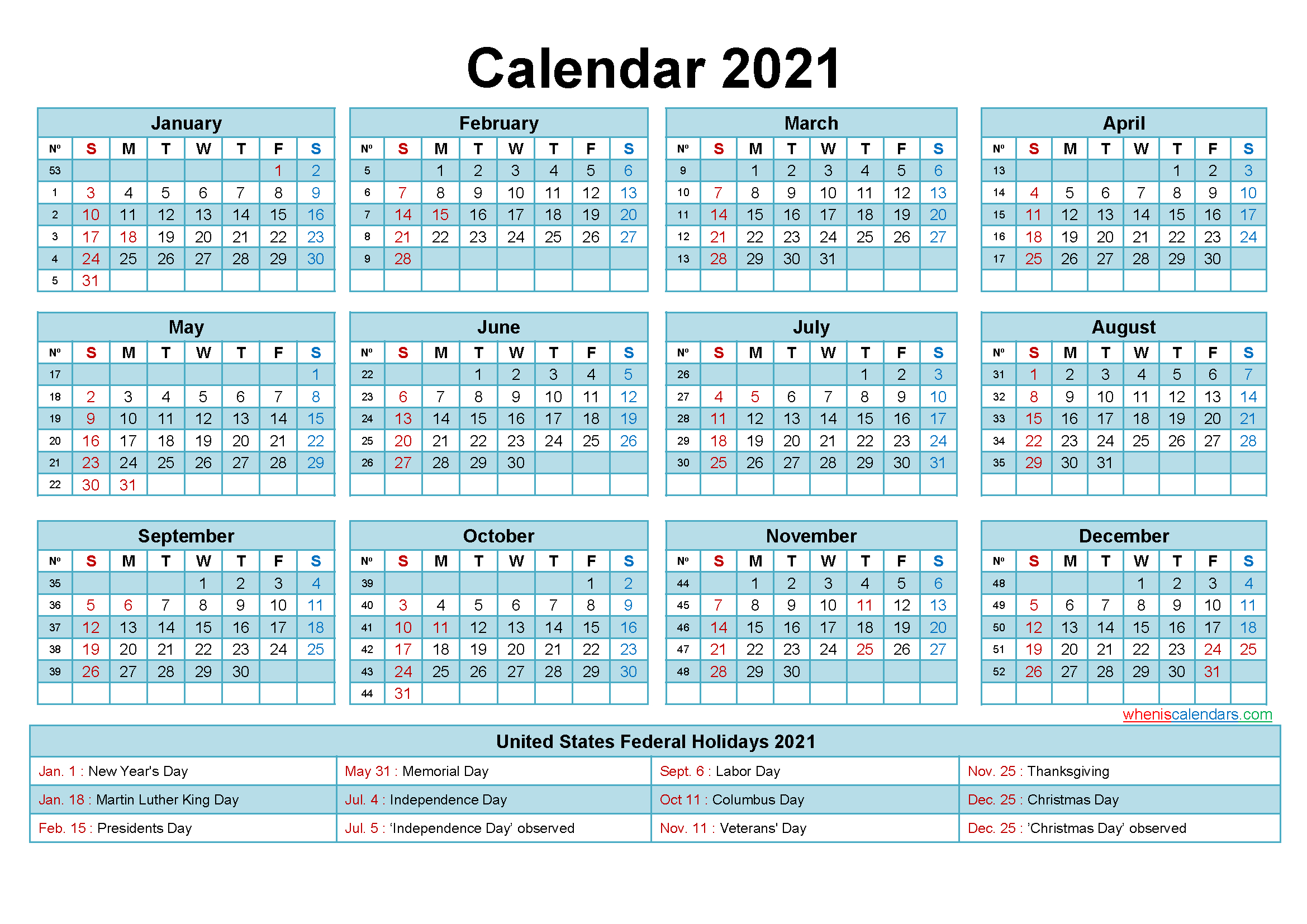 Free 2021 Printable Calendar With Holidays intended for Free 3 Month Calendar One Page 2021