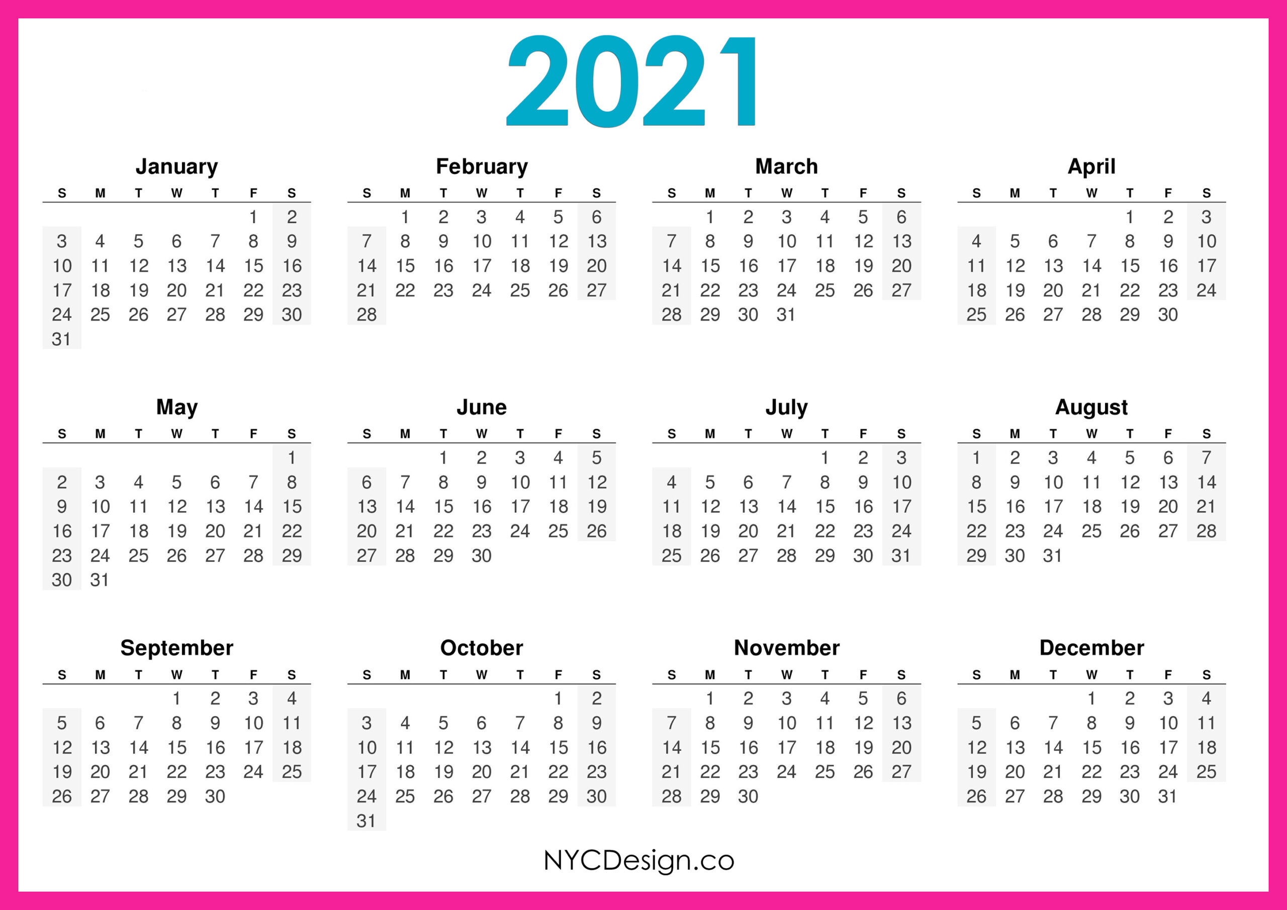 Free 2021 Yearly Calender Template  12 Month Colorful with Desktop Calendars 2021 Free Printable