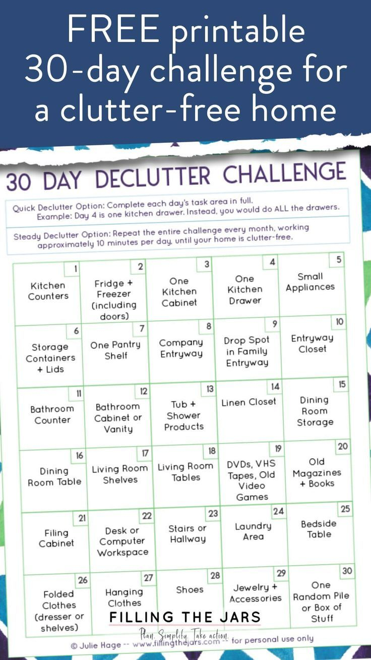Free 30 Day Declutter Challenge Printable | Filling The in 30 Day Declutter Challenge Calendar