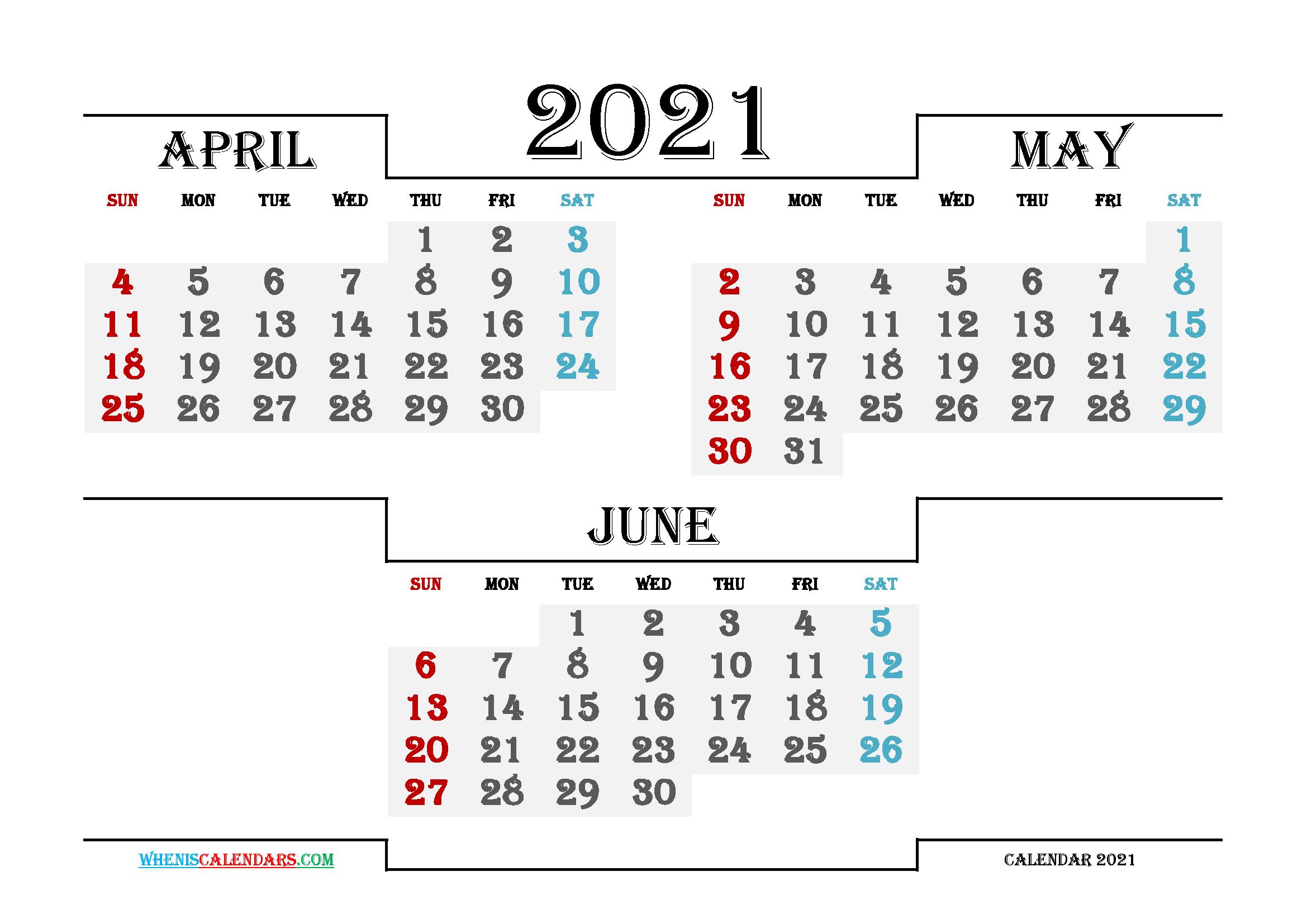 Free April May June 2021 Calendar Printable in 3 Month Calendar 2021 Printable Free