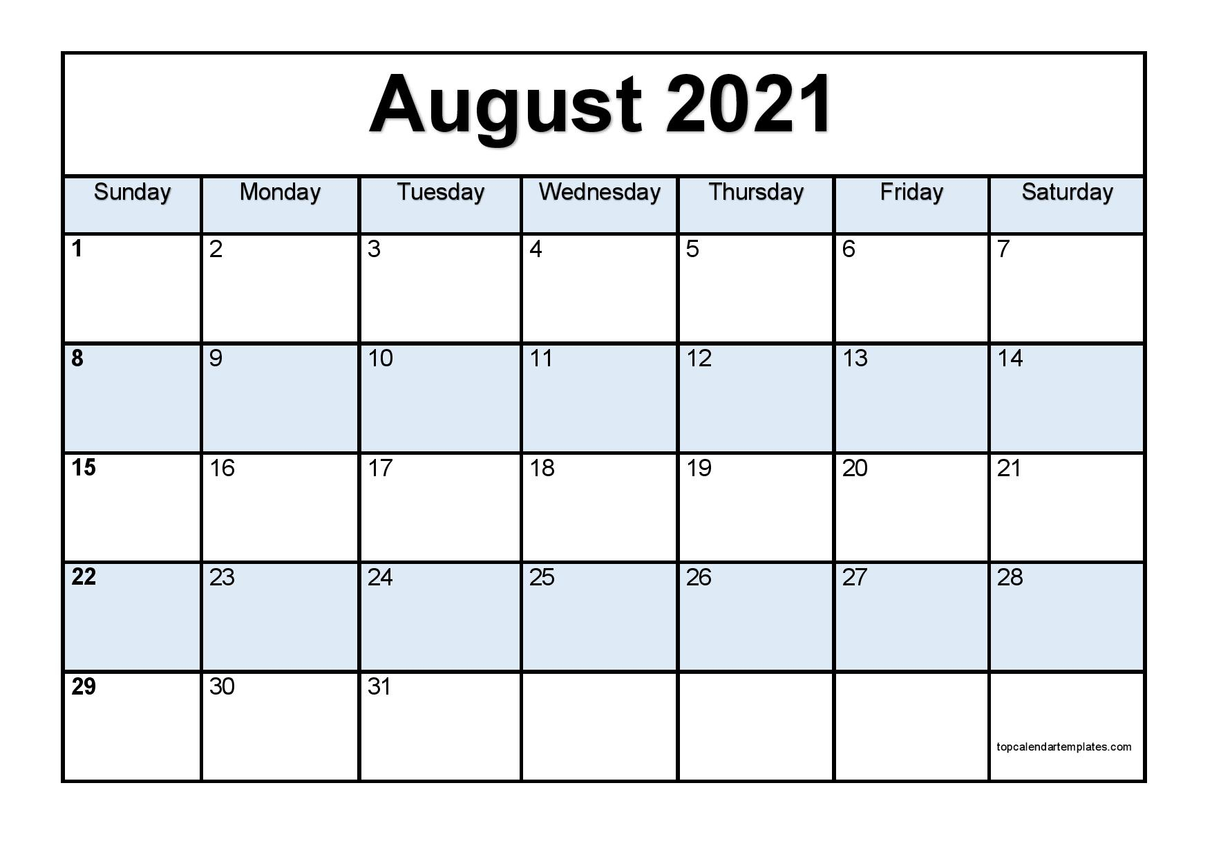 Free August 2021 Printable Calendar  Monthly Templates intended for August 2021 Calendar Print