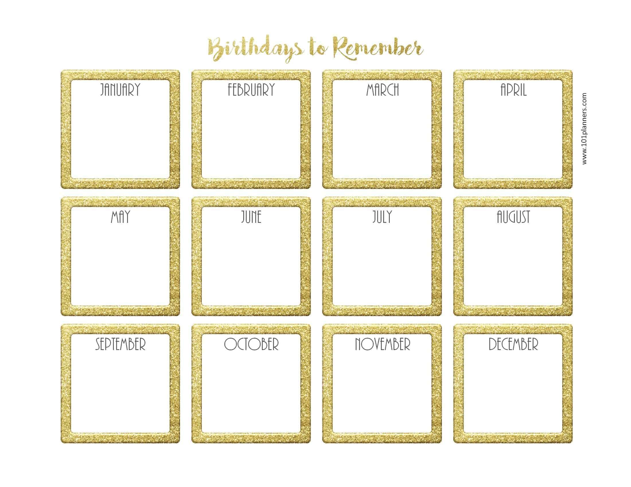 Free Birthday Calendar for Birthday Calendar Template Excel