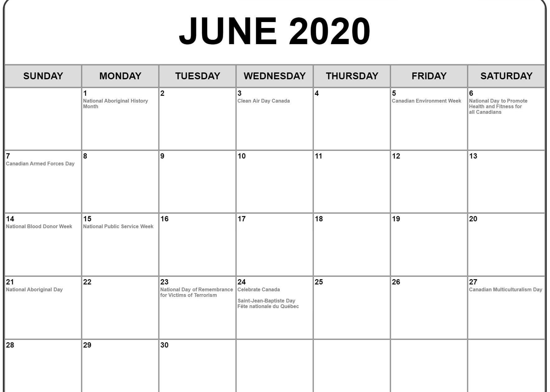 Free Blank June 2020 Calendar Printable Templates in June 2021 Printable Monthly Calendar With Lines
