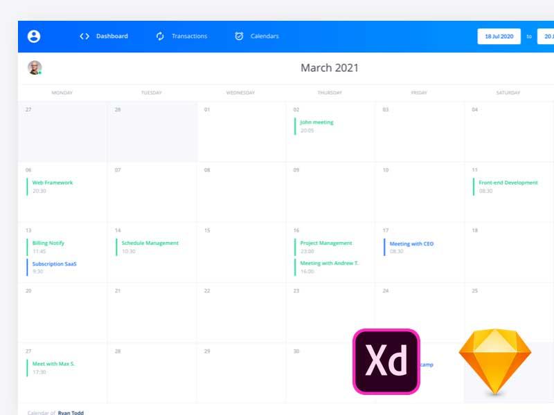 Free Calendar Elements Ui Kit  Free Adobe Xd Ui Kits regarding Xd Calendar Kit