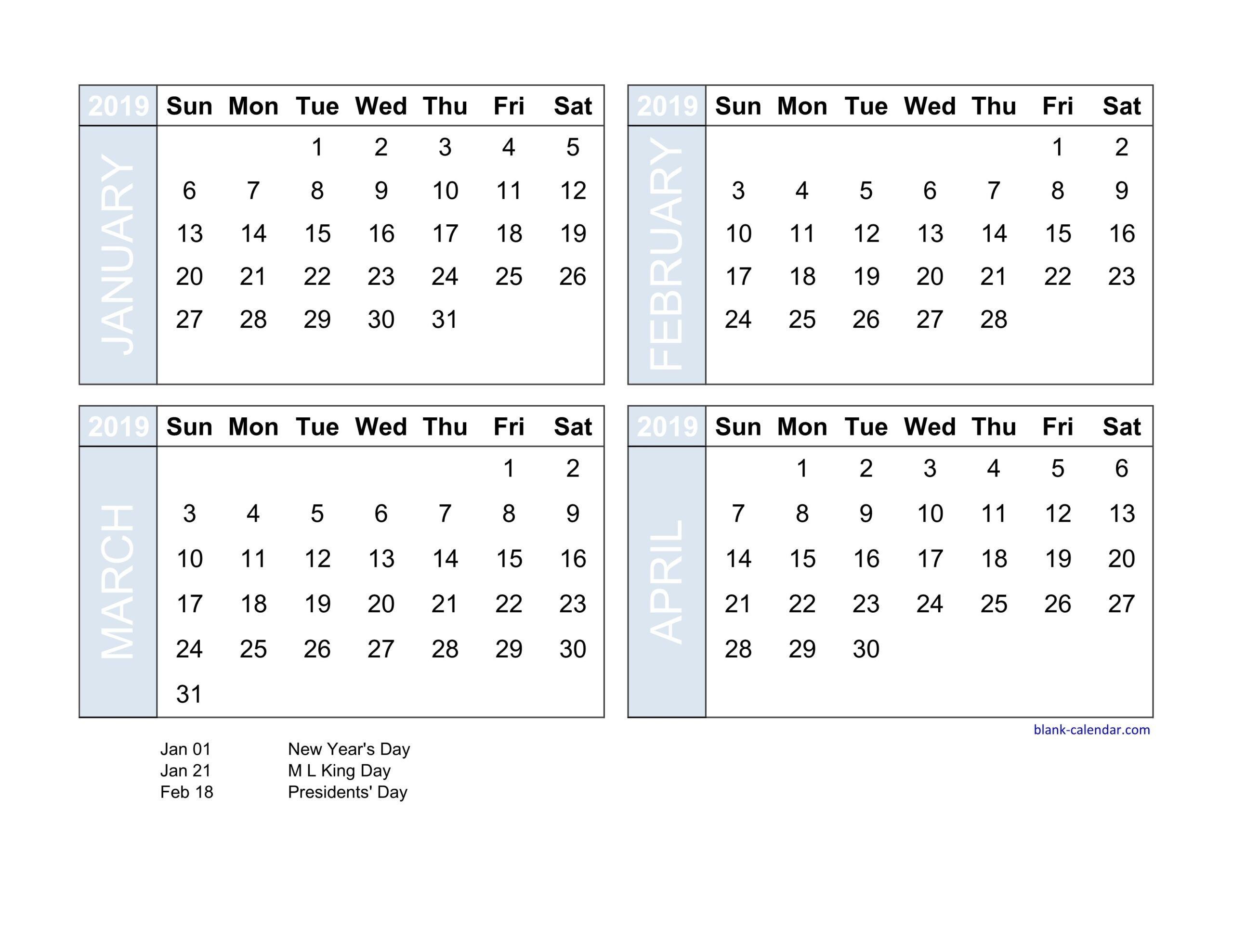 Free Calendar Template 4 Months To A Page   Calendar intended for Printable 4 Month Calendar