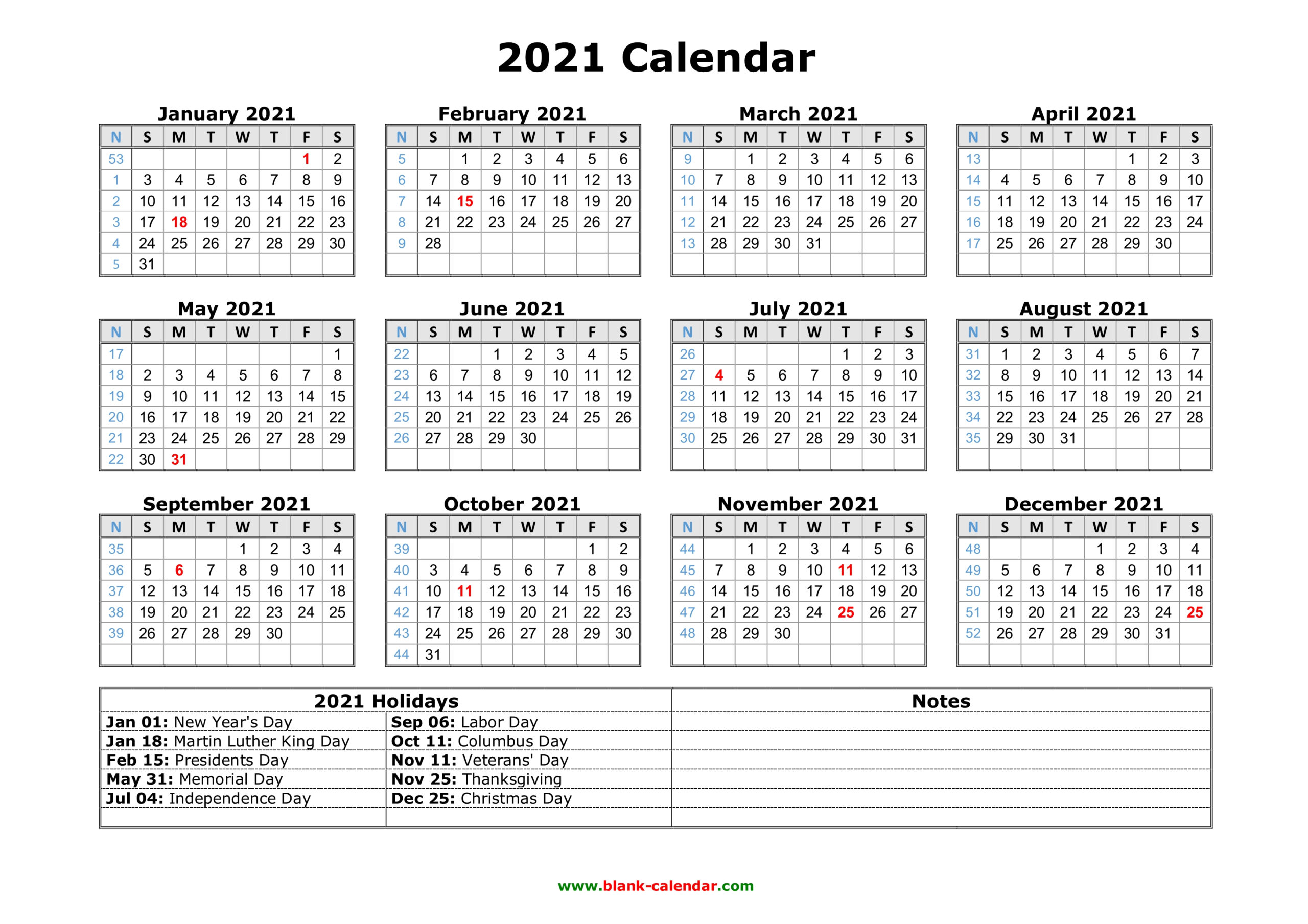 Free Download Printable Calendar 2021 With Us Federal inside Free 3 Month Calendar One Page 2021