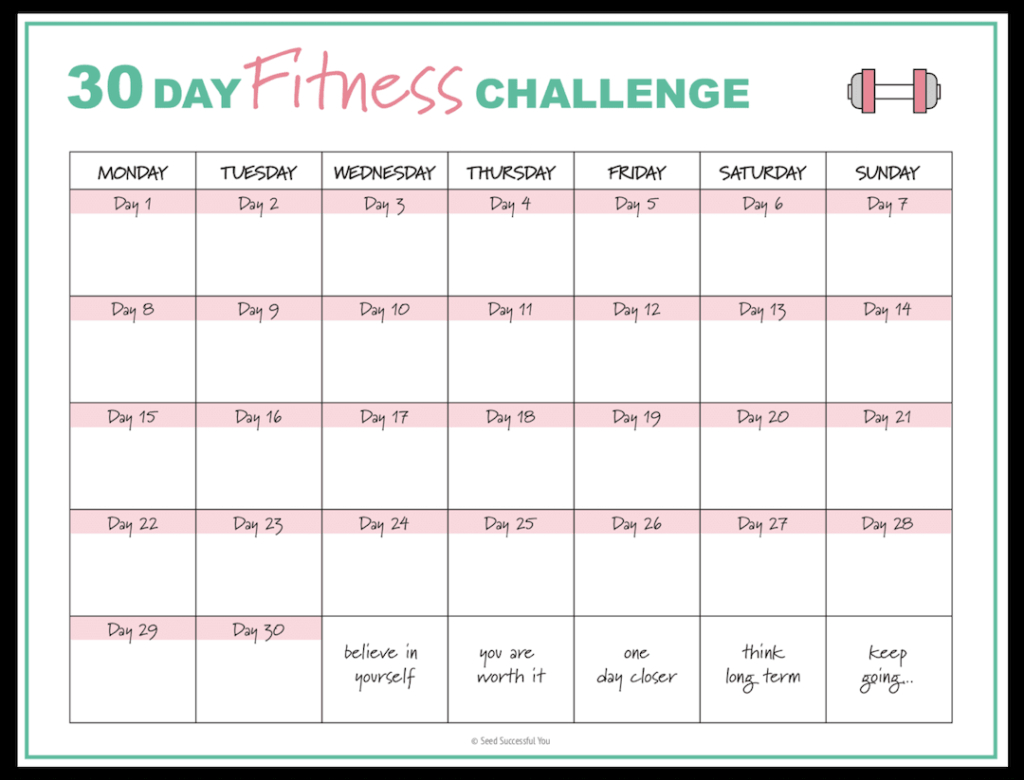 Free Fitness Planner Printables To Help You Achieve Your in Printable 30 Day Calendar