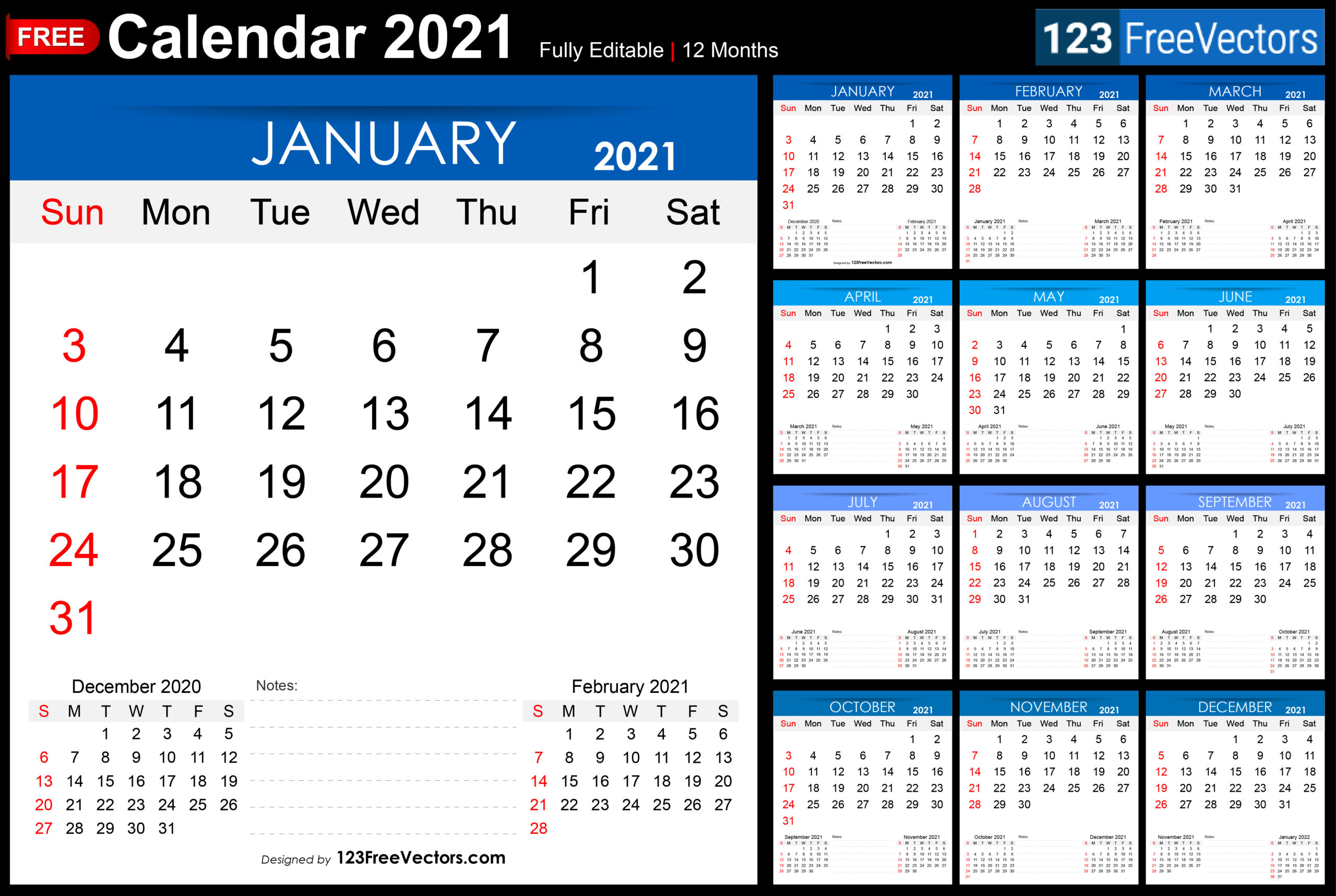 Free Free Printable 2021 Monthly Calendar within 2021 Writable Calendars By Month