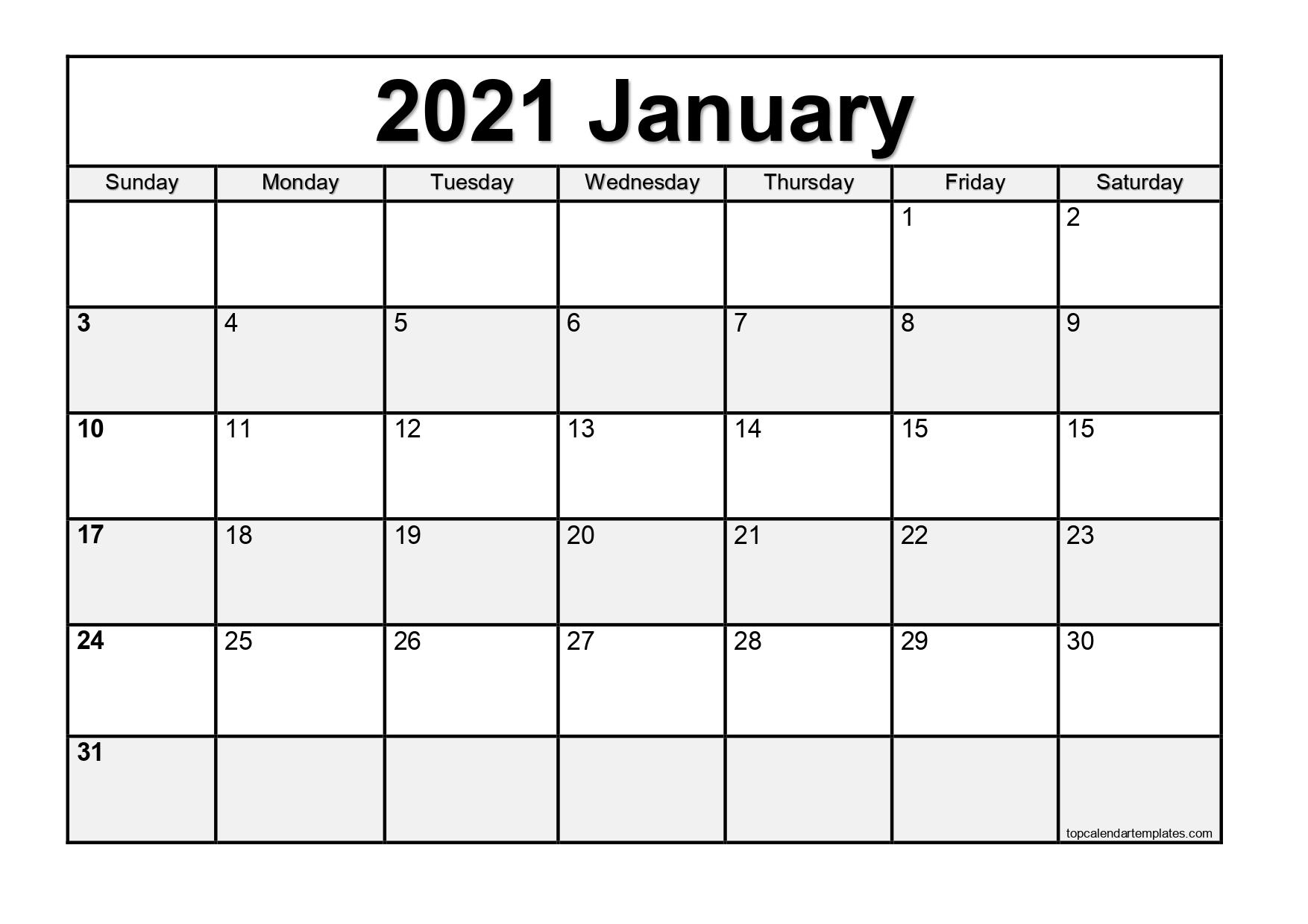 Free January 2021 Calendar Printable Blank Templates within Blank Monthly Calendar 2021