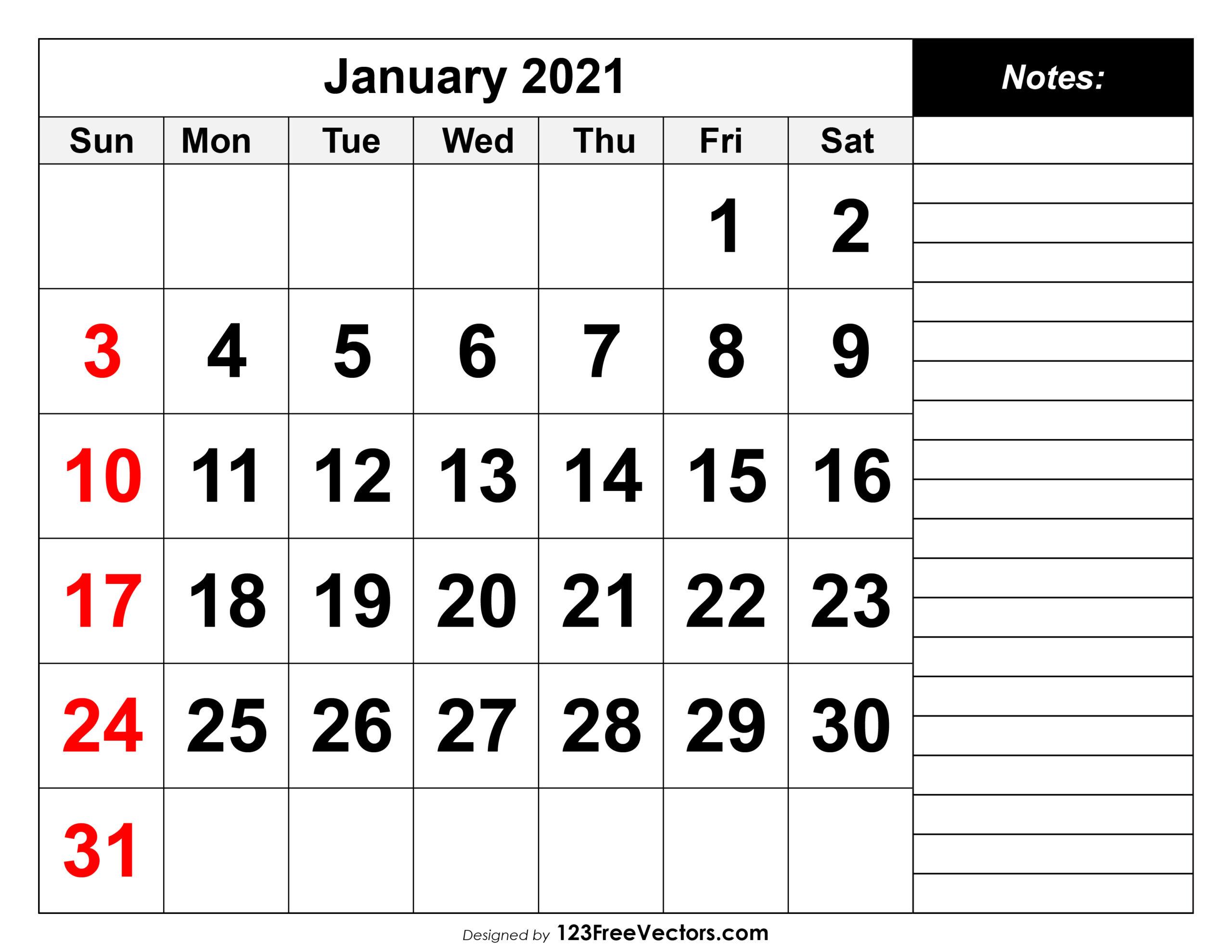 Free January 2021 Printable Calendar regarding Free Printable Calendar With Lines On Days 2021