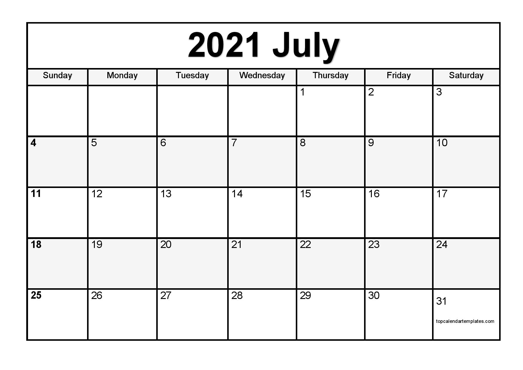 Free July 2021 Printable Calendar  Monthly Templates in Free Printable Calendars 2021 With Lines