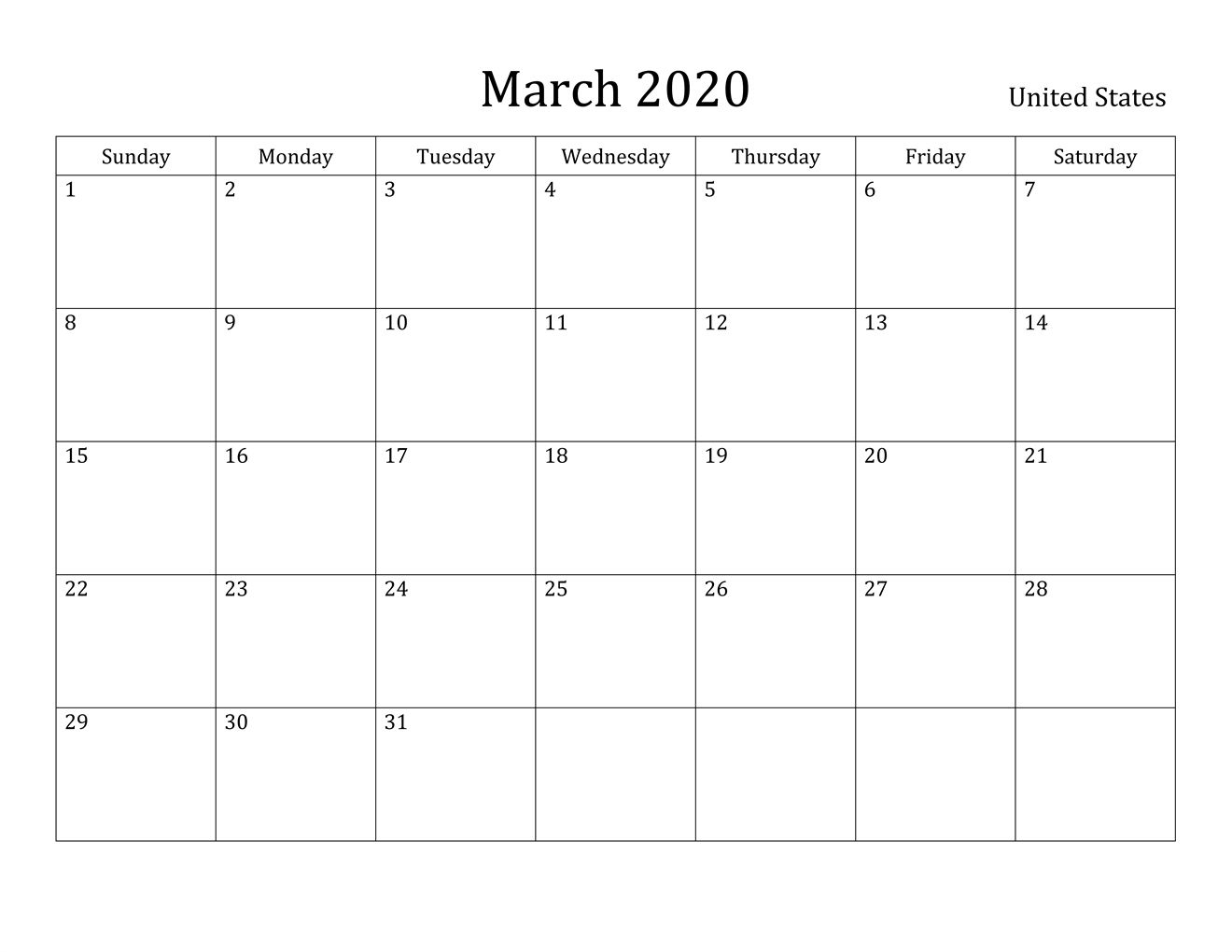 Free March 2020 Printable Calendar  Blank Templates  In with regard to Full Page Blank Calendar