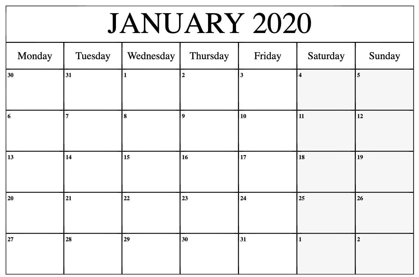Free Monthly Monday Through Friday Calenar  Example with Blank Calendar Monday Through Friday