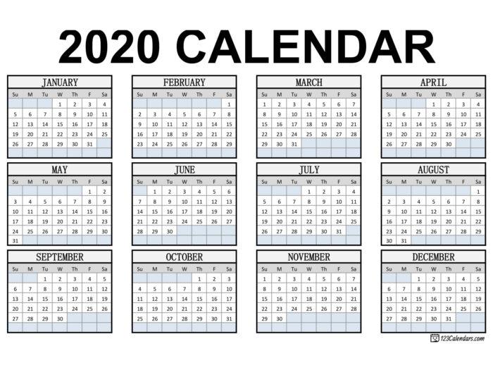 Free Printable 2020 Calendar | 123Calendars with regard to Printable Blank Calendar Template
