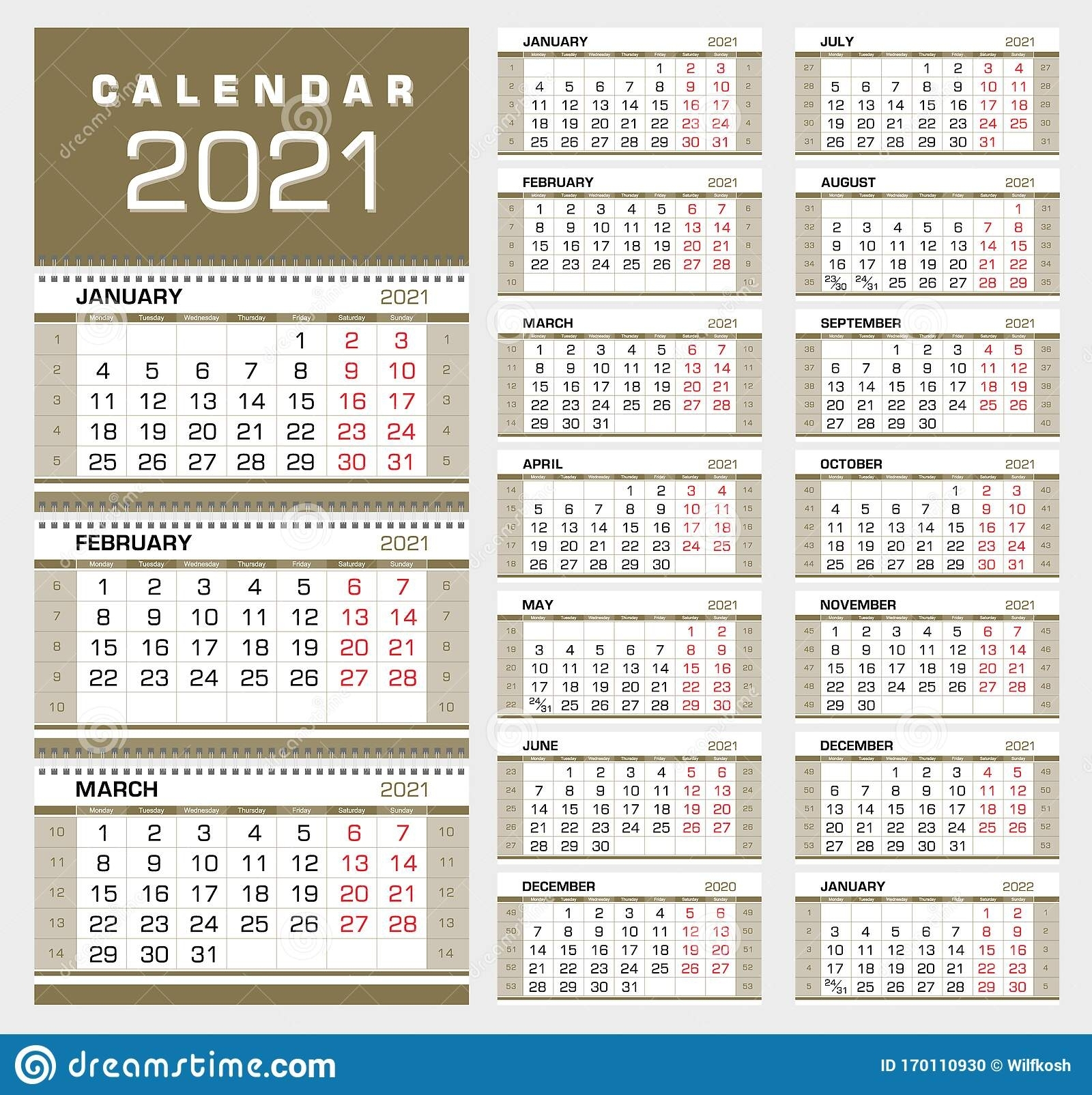 Free Printable 2021 Calendar Week Starts With Saturday for 2021 Calendar Excel Start Monday