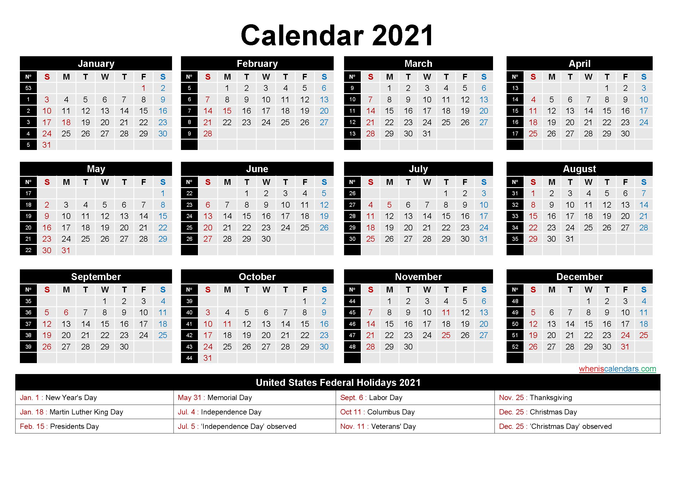 Free Printable 2021 Calendar With Holidays As Word, Pdf  Free Printable 2020 Monthly Calendar within 2021 Calendar Free Printable