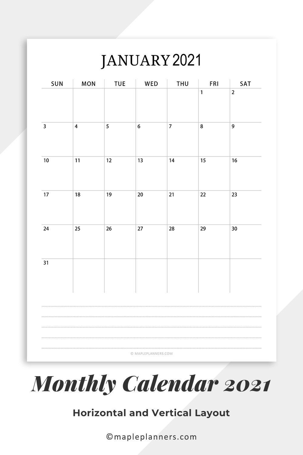 Free Printable 2021 Monthly Calendar Pdf Template In 2020 for 8X11 Calendar Printable