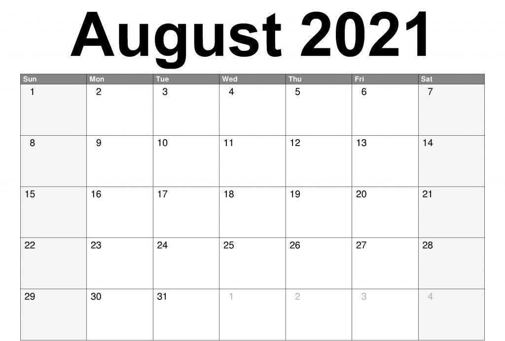 Free Printable August 2021 Calendar Template Pdf Page within August 2021 Template Calendar
